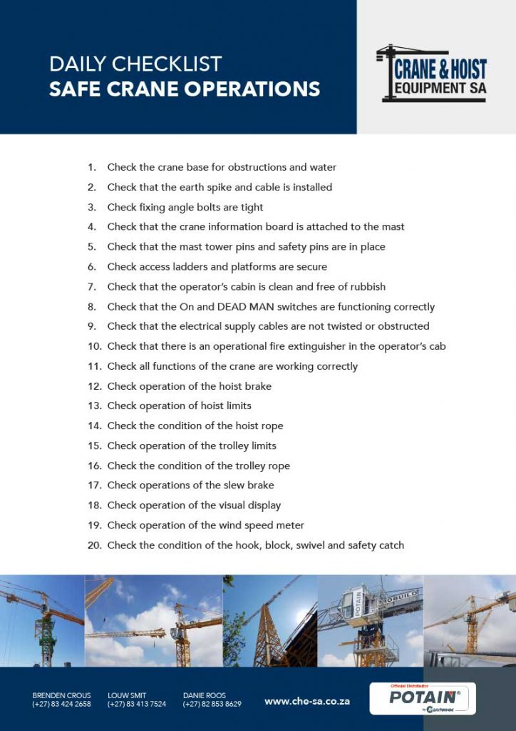 Daily Checklist: Safe Crane Operations 4
